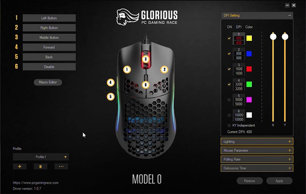 logiciel Glorious model o souris gamer