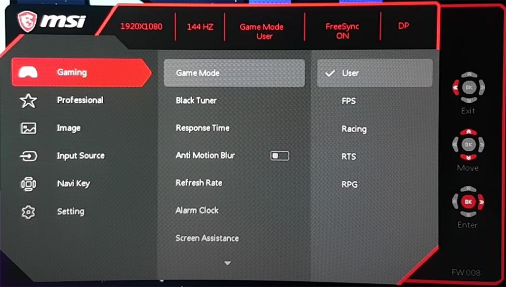 msi OPTIX MAG241C ecran gamer reglages